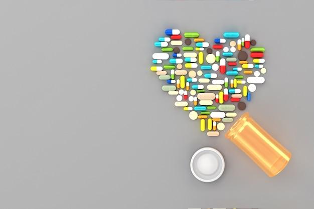 多くの錠剤が表面にハートの形で散らばっています。 3dイラスト