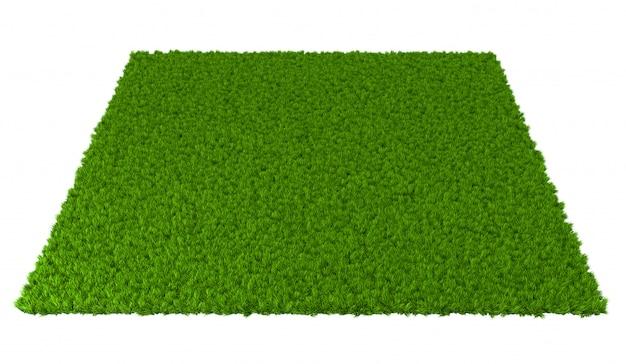 白い背景の上の緑の芝生。 3dイラストレーション