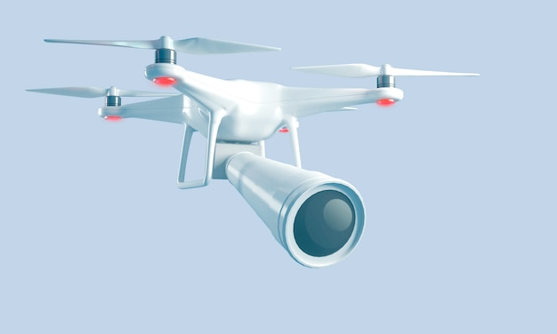 スパイ撮影用の大型レンズを備えた3dレンダリングクアドロコプター