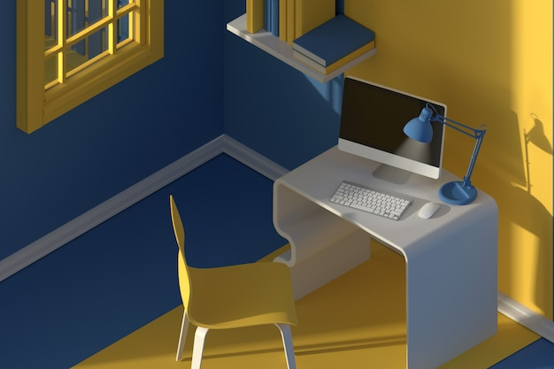 3dレンダリング。ミニマルなモダンな漫画スタイルのインテリアの等角図。夕方の日光の部屋。椅子、テーブル、コンピューター、窓付き