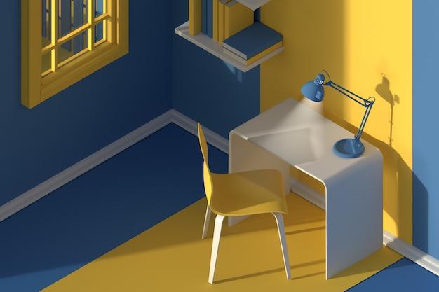 3dレンダリング。ミニマルなモダンな漫画スタイルのインテリアの等角図。夕方の日光の部屋。椅子、テーブル、ランプ、窓、本棚付き