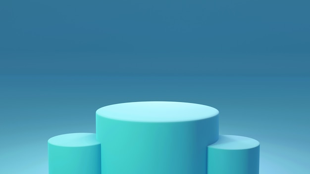 製品台座、青と緑、シリンダー形状。 3dレンダリング