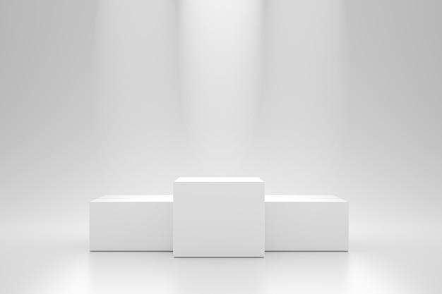 勝者の表彰台とブランクは、スポットライト製品の棚が付いている台座の壁に立っています。広告のための空白のスタジオ表彰台。 3dレンダリング。