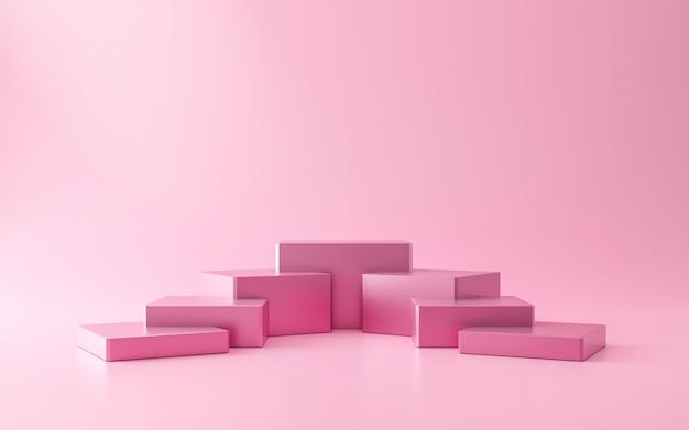 階段または表彰台のピンクの台座は、化粧品製品のプレゼンテーションコンセプトとピンクの壁の上に立ちます。モダンなピンクの豪華なディスプレイ。 3dレンダリング。
