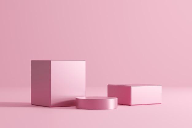 ピンクの幾何学的な台座や表彰台は、パステルファッションのコンセプトを持つ空白の製品壁の上に立ちます。ピンクスタジオプラットフォームテンプレート。 3dレンダリング。