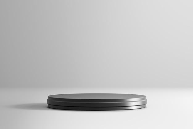 黒の台座または表彰台は、高級ファッションのコンセプトを持つ白い製品の上に立ちます。空のスタジオプラットフォームテンプレート。 3dレンダリング。