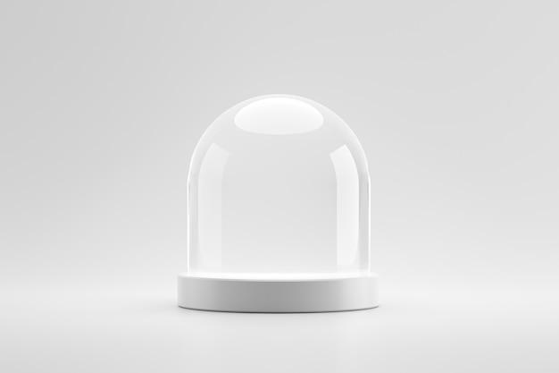 モダンな台座や表彰台は、ドームガラスのコンセプトを持つ空白の製品の上に立ちます。スタジオプラットフォームテンプレートにモダンなディスプレイ。 3dレンダリング。