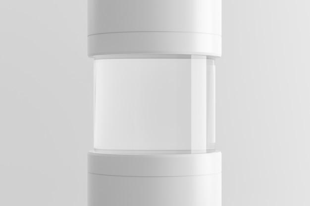 モダンな台座またはテストチューブの表彰台は、ラボのコンセプトを持つ空白の製品の上に立ちます。モダンなディスプレイまたはスタジオプラットフォームテンプレートの展示。 3dレンダリング。