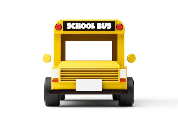 黄色のスクールバスと学校のコンセプトに戻ると白い背景で隔離の正面図。古典的なスクールバス自動車。 3dレンダリング。
