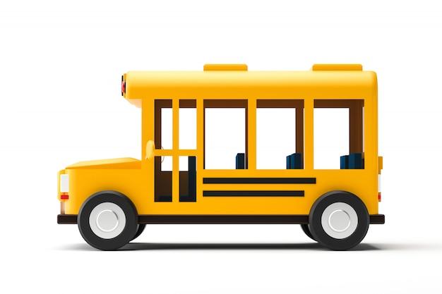 学校のコンセプトに戻って白い背景に分離された黄色のスクールバスとサイドビュー。古典的なスクールバス自動車。 3dレンダリング。