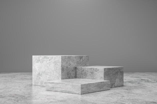 大理石の台座または製品は、プレゼンテーションのコンセプトと豪華な背景に表示されます。石の表彰台ステージ。 3dレンダリング。