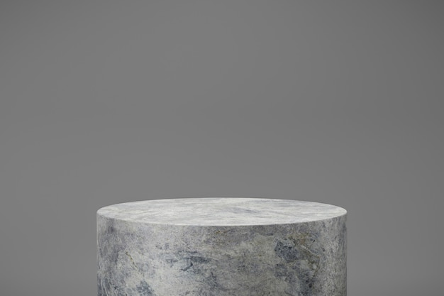 プレゼンテーションの概念が灰色の背景に大理石の台座または製品の表示のクローズアップ。石の表彰台ステージ。 3dレンダリング。