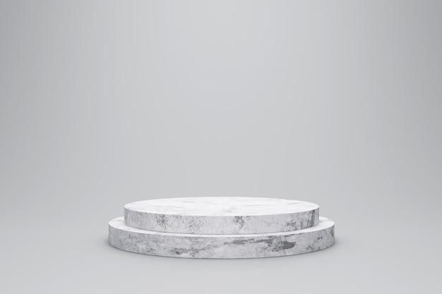 白い大理石の製品は、モダンな背景スタジオと白い背景に表示されます。空の台座または表彰台のプラットフォーム。 3dレンダリング。