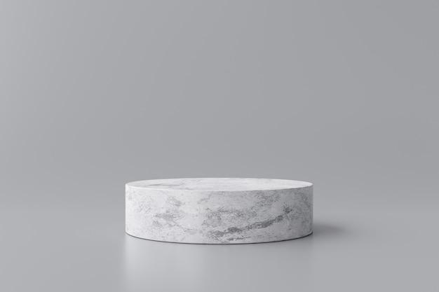 白い大理石の製品は、モダンな背景スタジオと灰色の背景に表示されます。空の台座または表彰台のプラットフォーム。 3dレンダリング。