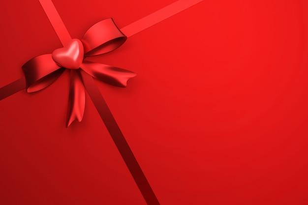 幸せなバレンタインフェスティバルやお祝いの誕生日とギフトボックスの背景に赤いリボン。愛の心のスタイルのための特別なパッケージ。 3dレンダリング。