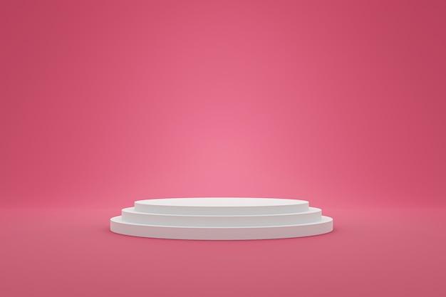 Белый постамент или подиумный дисплей со сладкой платформой. пустая полка для показа товара. 3d-рендеринг.
