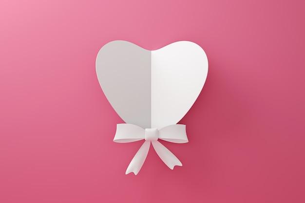 愛の概念と幸せなバレンタインの背景に紙から作られた白いハートとリボンの折り紙。 3dレンダリング。