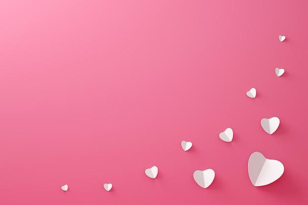 愛の概念と幸せなバレンタインの背景に紙から作られた白いハートとフレームパターンの折り紙。 3dレンダリング。