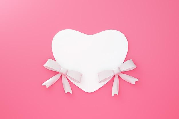 愛の概念と幸せなバレンタイン背景にカードから作られたホワイトハートペーパーフレームとツインリボンの折り紙。 3dレンダリング。