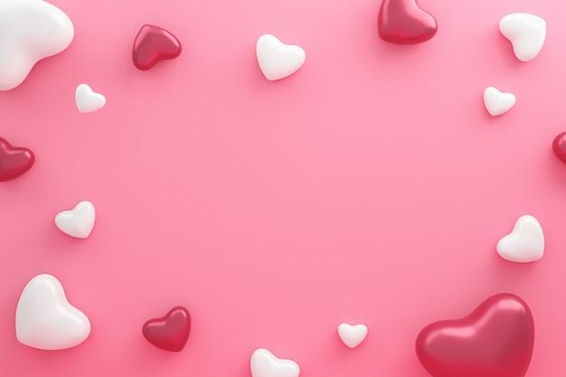 Пустая рамка и сердца узор на розовом фоне с днем святого валентина. красивый мини-стиль сердца. 3d-рендеринг.