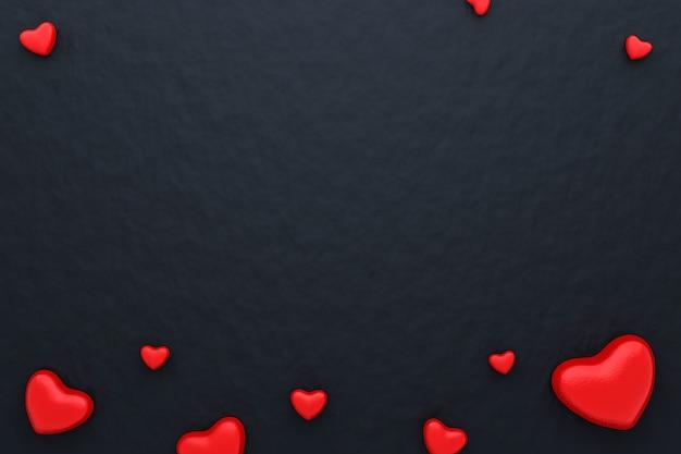 赤いハートと幸せなバレンタインデーと黒い紙の背景の空白のフレーム。美しいミニハートスタイル。 3dレンダリング。