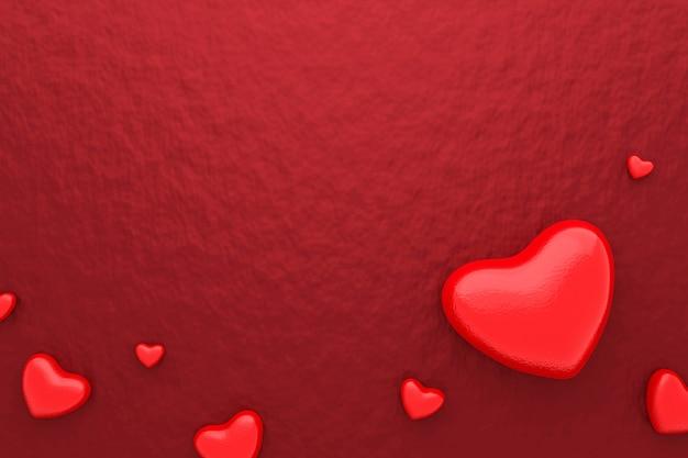 赤いハートと幸せなバレンタインデーと鮮やかな紙の背景の空白のフレーム。美しいミニハートスタイル。 3dレンダリング。