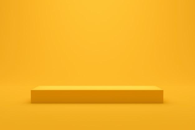 最小限のスタイルで鮮やかな夏の背景に黄色の表彰台の棚が表示されます。製品を表示するためのブランクスタンド。 3dレンダリング。