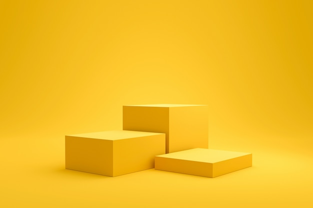 Желтая полка подиума или пустой пьедестал дисплей на фоне яркой моды летом с минимальным стилем. пустой стенд для показа товара. 3d-рендеринг.