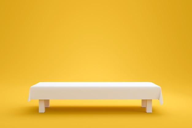 最小限のスタイルで鮮やかな黄色の夏の背景に白いトップテーブルと布の布または空の台座が表示されます。製品を表示するためのブランクスタンド。 3dレンダリング。