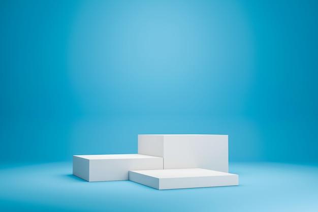 最小限のスタイルで鮮やかな青い夏の背景に白い表彰台の棚または空のスタジオディスプレイ。製品を表示するための空白のスタンド。 3dレンダリング。