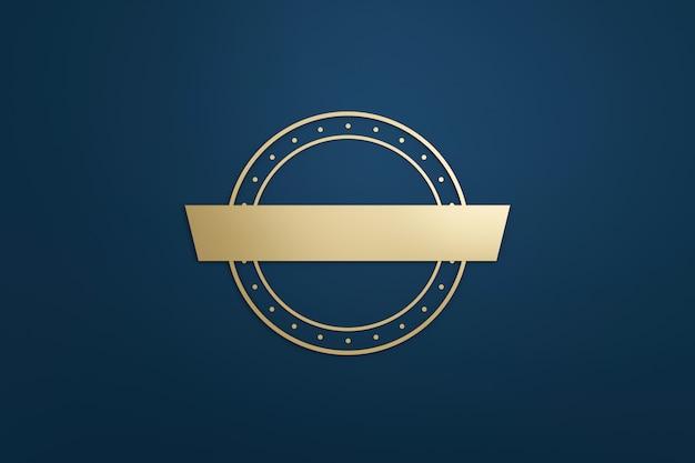 空白のロゴフレームと暗い青色の背景にモダンなスタイルのゴールデンラベル。デザインエンブレムと丸い形の空のテンプレート。 3dレンダリング。
