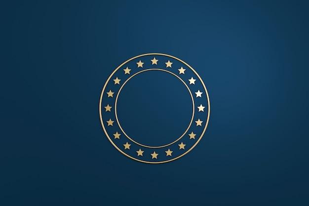 暗い青色の背景に金色の豪華なデザインの空白の星のロゴまたはエンブレムバッジ。 3dレンダリング。