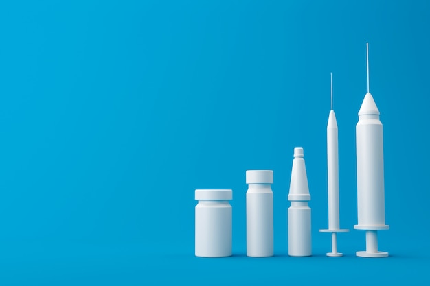 病気の治療と予防のためのワクチンの注射器医療キットセット。医療革新グラフと青色の背景に白いワクチンキット。 3dレンダリング。