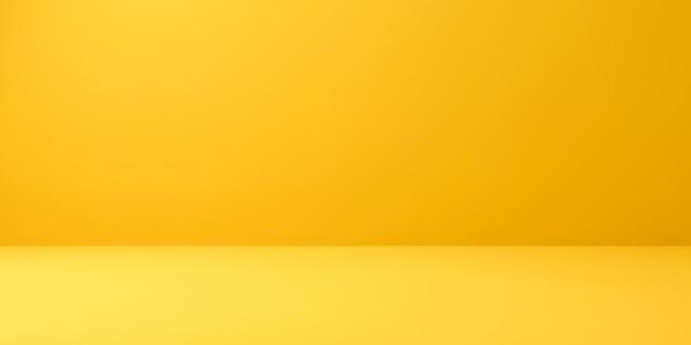 最小限のスタイルで鮮やかな夏の背景に空白の黄色のディスプレイ。 3dレンダリング。