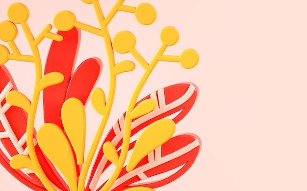 Состав заводов и цветков в стиле иллюстрации 3d.
