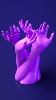 3d рендеринг иллюстрации баннер с руками