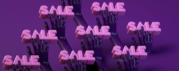 Знамя иллюстрации перевода 3d при руки держа круг в пурпуре