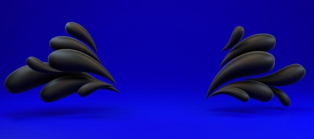 3d фон рендеринг красочных жидких черных капель фона кадра