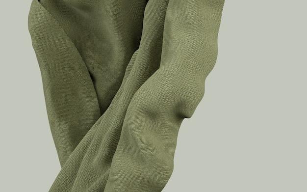 3d рендеринг иллюстрация мягкой ткани земляной зеленый материал на плоском фоне