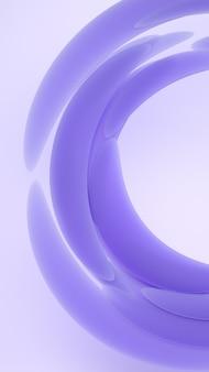 Жидкостная абстрактная иллюстрация перевода форм 3d. фиолетовый мягкий резиновый материал на светлом фоне. креативные модные обои.
