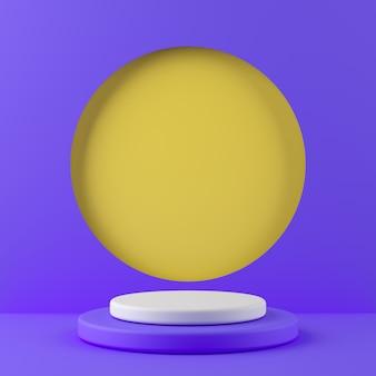 抽象的なジオメトリは、製品の黄色の背景に白い色と紫色の表彰台を形作ります。最小限の概念3dレンダリング