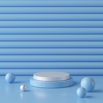 製品の幾何学的形状の表彰台と抽象的な青い背景。最小限の概念3dレンダリング