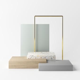 製品の幾何学的形状の表彰台と抽象的な白い背景。最小限の概念3dレンダリング
