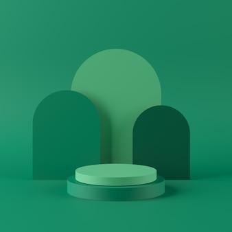 製品の幾何学的形状の表彰台と抽象的な緑の背景。最小限の概念3dレンダリング
