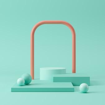 抽象的なパステルカラーの幾何学的形状、製品の表彰台ディスプレイ。最小限の概念3dレンダリング