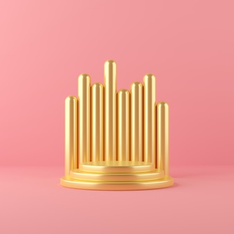 3d представляют сцену подиума формы геометрии золота абстрактную для дисплея и продукта