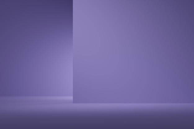 Цвет абстрактной предпосылки фиолетовый с фарой для продукта. минимальная концепция 3d-рендеринг