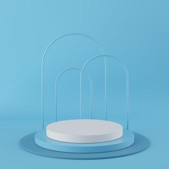 製品の青い背景に白い色と抽象的な幾何学図形青い色表彰台。最小限の概念3dレンダリング