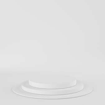 製品の白い背景の上の抽象的な幾何学形状ホワイトカラー表彰台。最小限の概念3dレンダリング