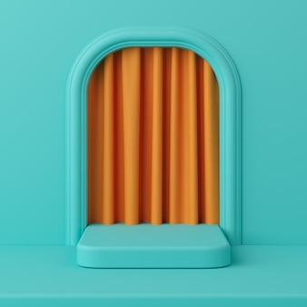 製品のオレンジ色のカーテンとミニマルコンセプトグリーンカラー表彰台。 3dレンダリング